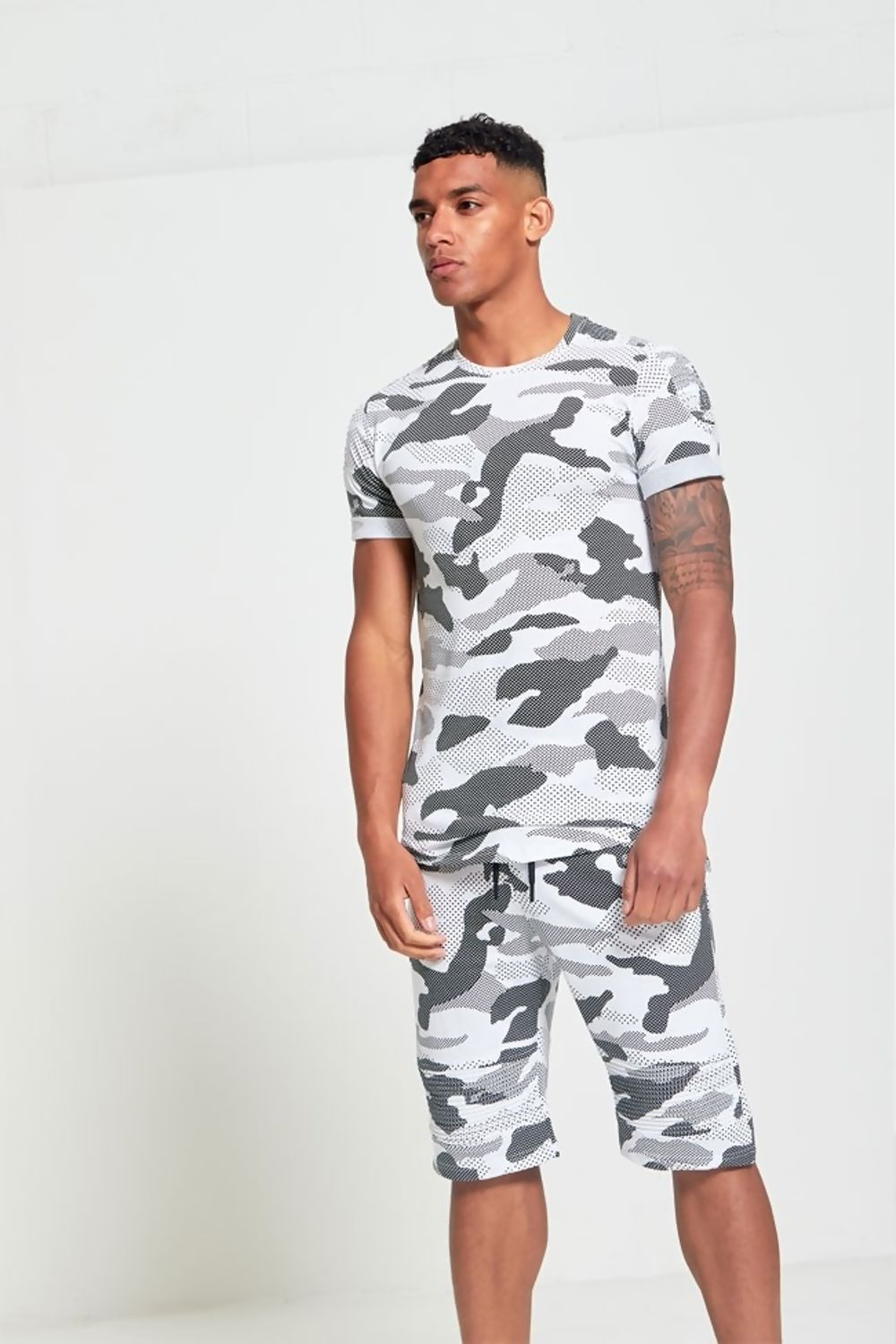 Mens White Full Camo Matching Crew Neck T Shirt And Shorts Set