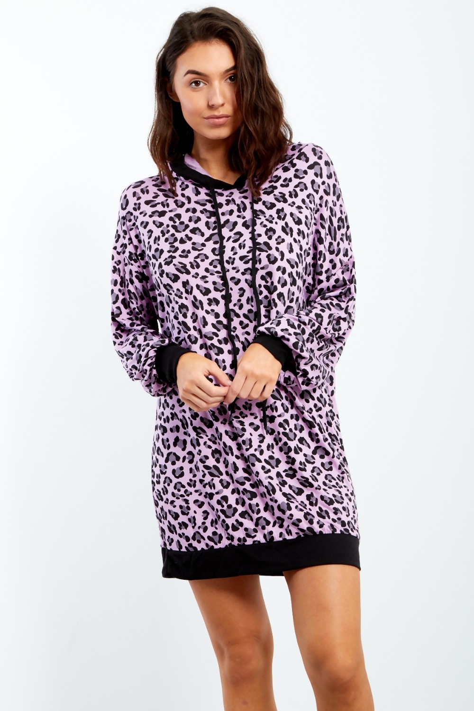 15da84e1640e Lilac Leopard Print Long Sleeve Hood Dress