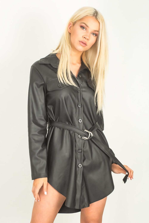 black leather shirt dress