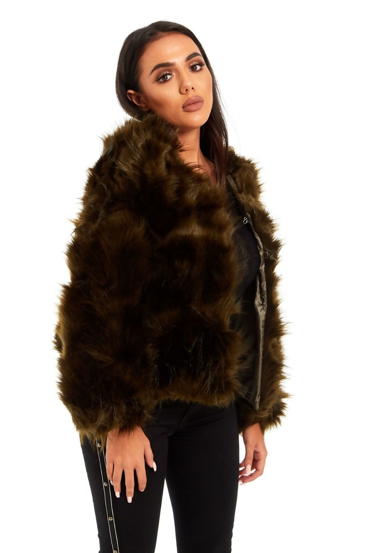 89b1df27 Khaki Arianna Faux Fur Coat