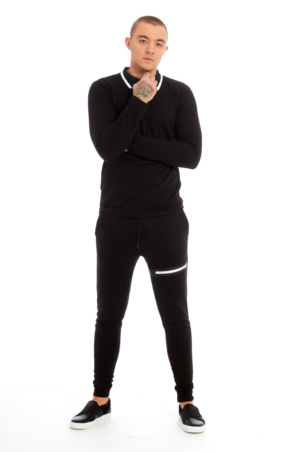 c1ae018e8 Mens Black Zip Detailed Skinny Fit Polo Tracksuit
