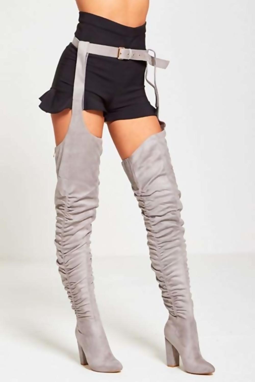 f2d24a5d855 Grey Suede Belt Thigh High Boots