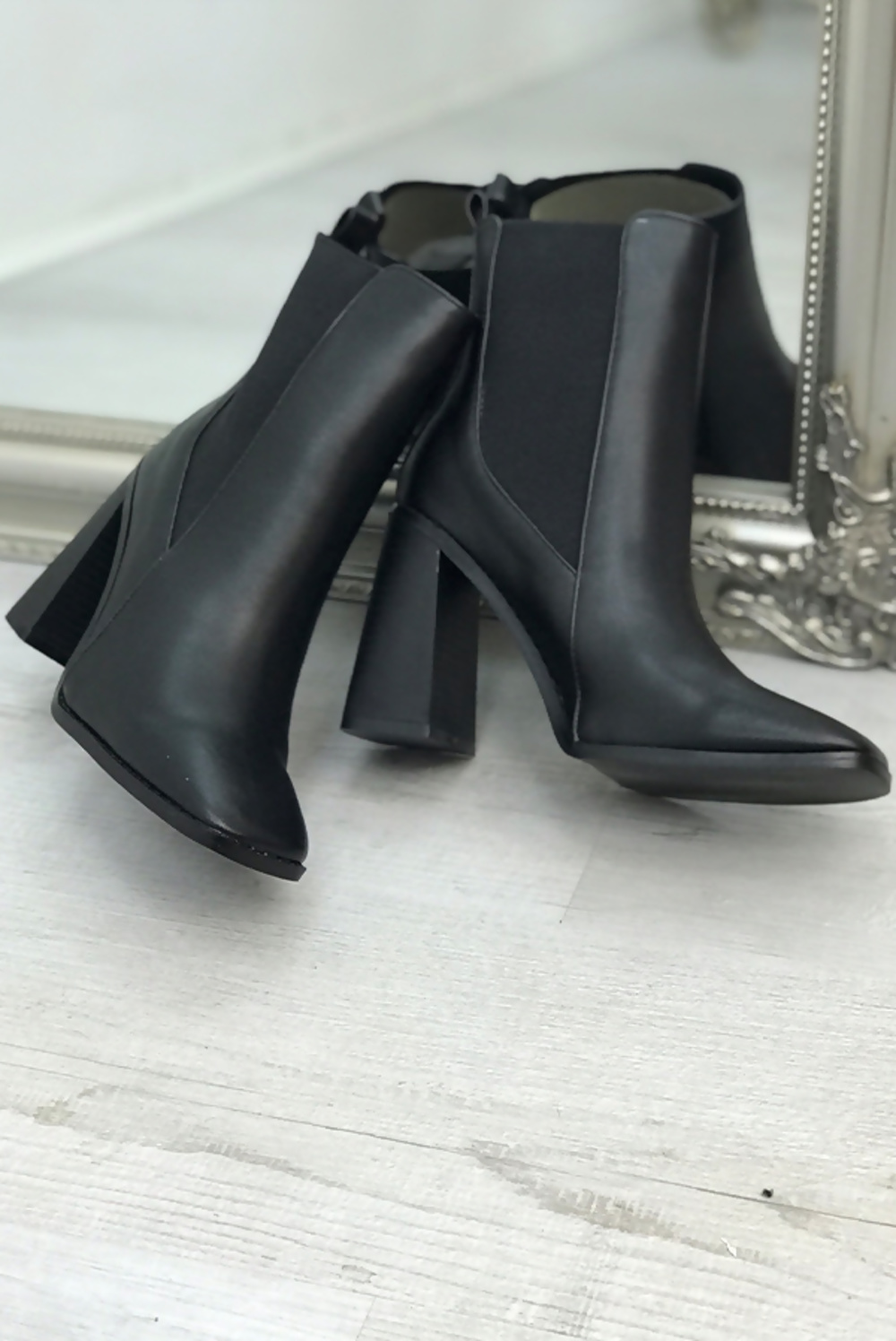 black pu square toe block heel ankle boots