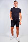 Mens Washed Black Distressed Denim Slim Shorts
