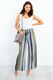 1017- Multi Stripe Pattern Wide Leg Trouser