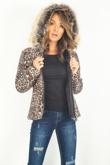 Beige Leopard Print Faux Fur Hood Puffer Jacket