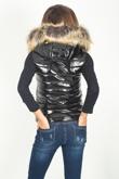 Black Patent Faux Fur Hood Gilet
