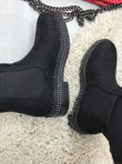 Black Suede Classic Chelsea Boot With Stud Detail