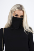 Black jersey long sleeve mask top