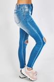 Blue Open Knee Mid Wash Skinny Jeans