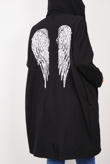 Black Sequin Angel Wings Hooded Cardigan