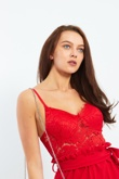 Red Lace Bralet Belted Playsuit