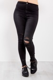 Black High Waist Knee Rip Raw Hem Skinny Jeans