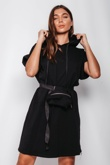 Black Bumbag Detail Hooded Sweat Dress