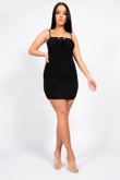 Black Ruched Knot Front Bodycon Dress