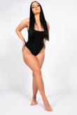 Black Square Neck Slinky Thong Bodysuit