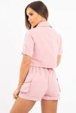 Pink Button Front Utility Pocket Shirt And Shorts Set