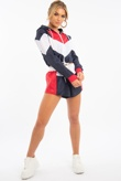 Navy Colourblock Hooded Jacket And Shorts Set