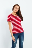 Red And White Striped Frill T-shirt