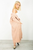 Dusty Pink Cable Knit Pocket Details Longline Cardigan