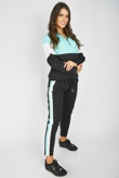 Mint Colour Block Half Zip Hoodie Loungwear Set