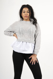 Grey Long Sleeve Knit Jumper With Shirt
