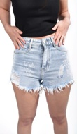 Light Washed Fearless Printed Shorts