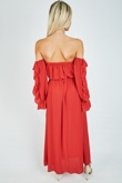 Red Tie Front Ruffle Detail Bardot Maxi Dress