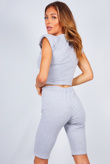 Grey Shoulder Pad Top And Cycle Shorts Set