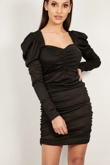 Black Extreme Ruched Detail Bodycon Dress