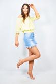 Yellow Floral Crochet Trim Bardot Top