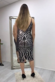 Black And Silver Sleeveless Sequin Dress