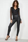 Black Sequin Embellished V Neck Bodysuit