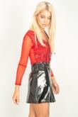 Red Sequin Embellished V Neck Bodysuit