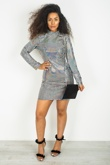 Silver Shiny Metallic Patch High Collar Disco Dress