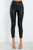 Pu Leather High Waisted Skinny Jeans
