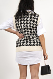 Black dogtooth knitted vest