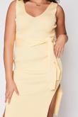 Yellow Ribbed Tie Waist Dress
