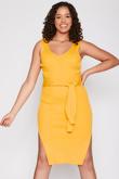 Mustard Ribbed Tie Waist Dress