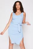 Blue Ribbed Tie Waist Dress