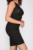 Black Ribbed Side Ruched Drawstring Bodycon Dress