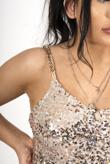 Champagne Sequin chain strap mini dress