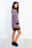 3131-Lilac Leopard Print Long Sleeve Hood Dress