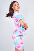 Multi Tie Dye Cycle Shorts And Top Lounge Set
