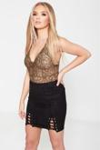 Khaki Sheer Lace Bodysuit