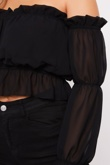 Black Off Shoulder Ruched Top