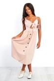 Blush Bow Front Button Up Sun Dress