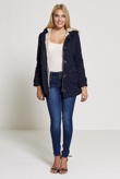 Navy Over Sized Button Parka Coat