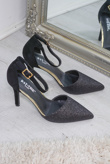 Black Pointed Toe Glitter Court Shoe