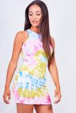 Pink Tie Dye Racer Rib Bodycon Dress